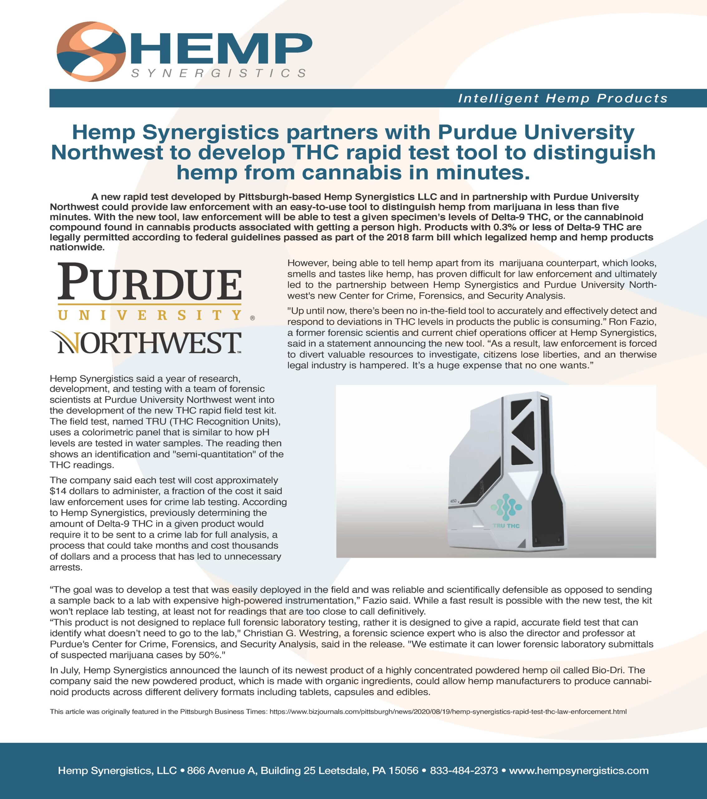 Hemp Synergistics partners with Purdue University Northwest to develop THC rapid test tool to distinguish hemp from cannabis in minutes