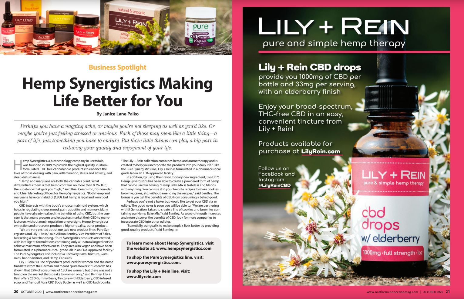 Hemp Synergistics featured in Northern Connection Magazine